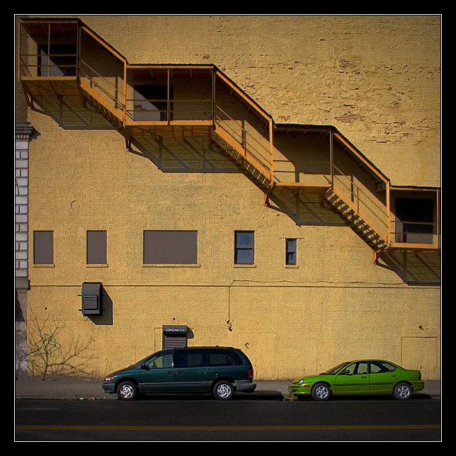 Green Cars and Yellow Stairs